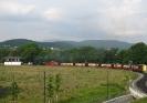 Zug vor dem Stellwerk Wernigerode Westerntor; im Hintergrund der Brocken (31.5.2008).